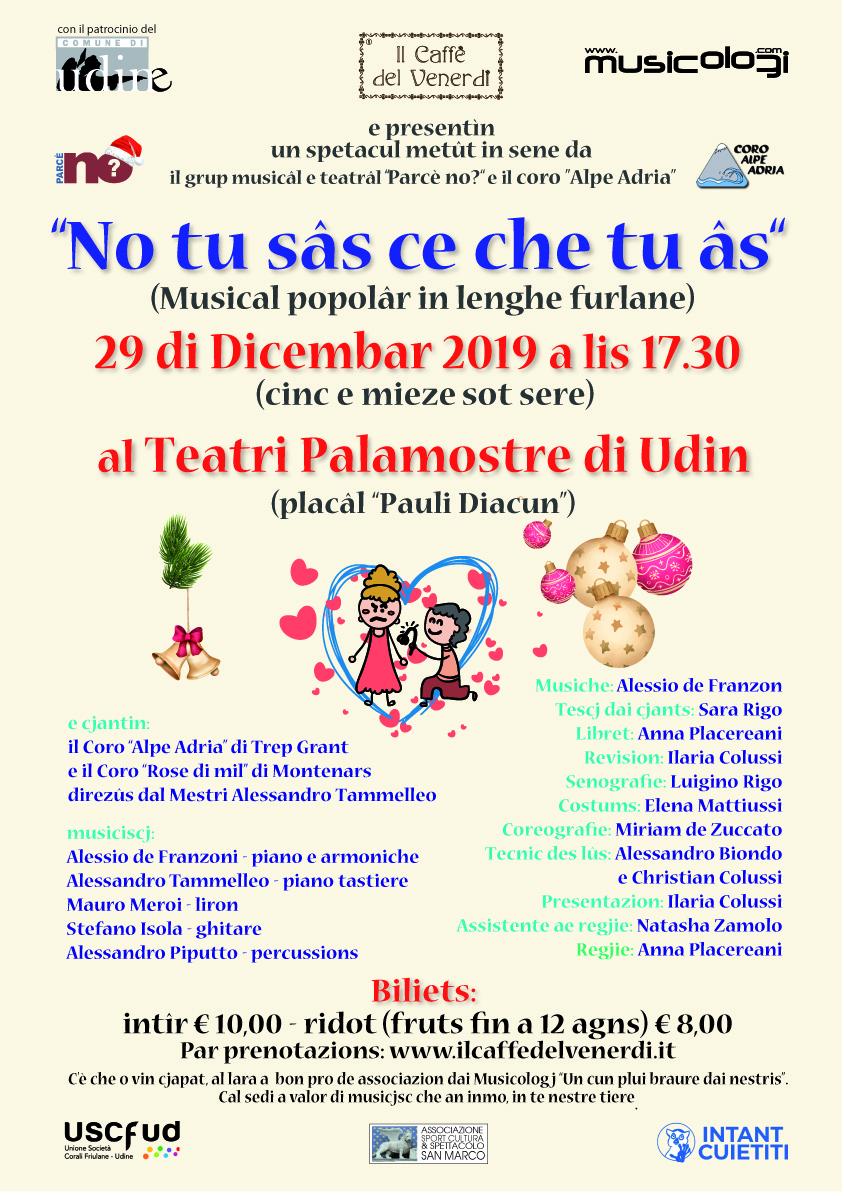 Locandina musical in friulano del 29/12/2019